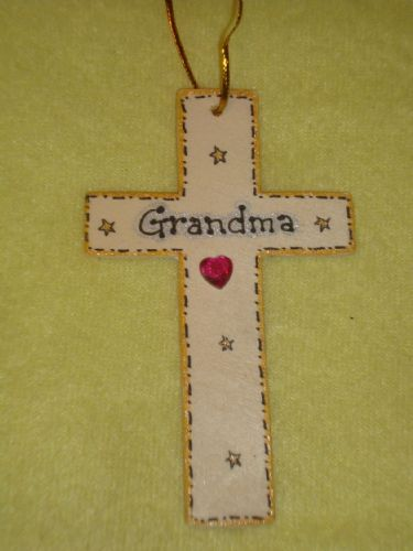 SALE** was £1.99 Grandma Memorial Cross Hanger for wall or tree Christmas Birthday Angelversary In Memory Unique Sign Ready To Despatch
